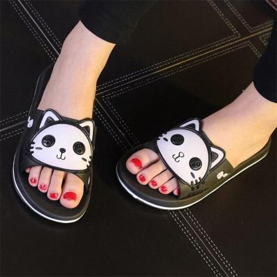 Women Summer Slip On Lovely Cat Slippers Ladies Indoor Non Slip Light Woman Shoes Female Casual Beach Platform Slipper 2020 New