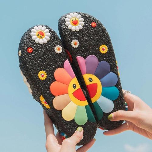 Women Summer Slippers Cute Sunflower Flat Flip Flops Ladies Soft Slides Shoes Female Print Floral Colorful Beach Casual Sandals