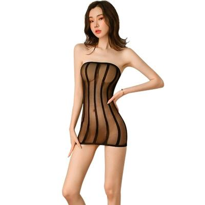 Adult Club Sex Party Transparent Allure Skirt See through Sexy Strapless Perspective Bag Hip Skirt Women Black Stripe Mini Dress