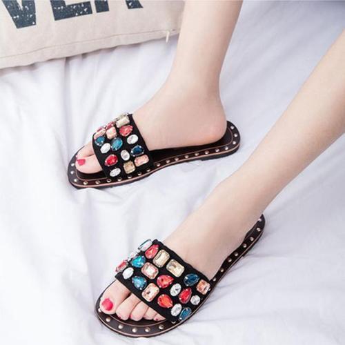 Women Gem Particle Rhinestone Slippers Rivet Female Flats Ladies Fashion Open Toe Slides Summer Woman Fashion Footwear Plus Szie