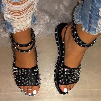 Women's Sandals Rivet Flats Cool Ladies Ankle Buckle Strap Punk Shoes Summer Female Plus Size 2020 Fashion New Woman Hot