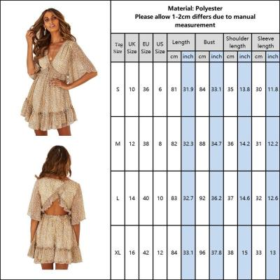 Women Dress Short Sleeve Leopard Printed Ladies Mini Dress Summer Backless Ruffle V Neck Work Wear Ol Dress For Female D30