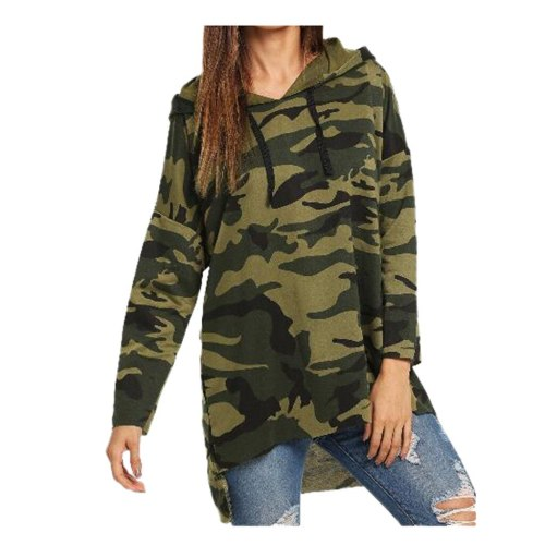 Women Hooded Camouflage Print Tops Irregula Hem Long Sleeve Casual Pullover Drawstring Loose Thin Sweatshirt Harajuku#Y3
