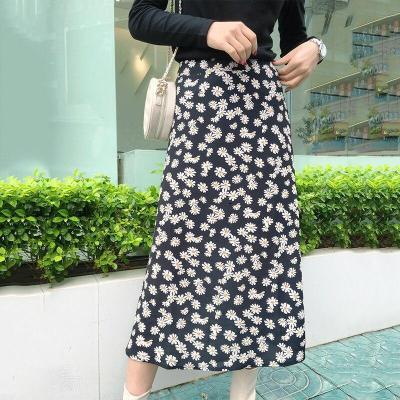 Daisy print maxi long skirt women high waist boho black skirt high street chic A-line beach skirt faldas 2020 autumn winter