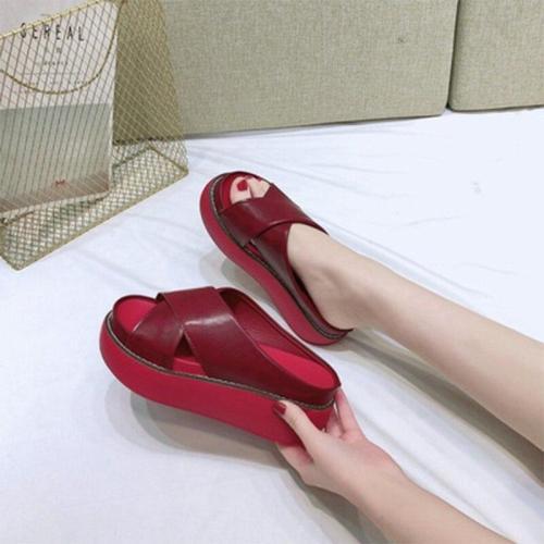 2020 Women Sandals Shoes Summer Platform Home Leather Wedges Big Size 43 Ladies Beach Shoes Casual Heels Sandalias Femenina
