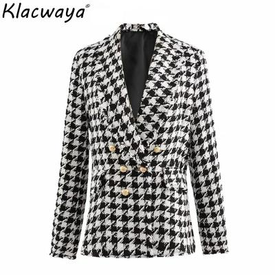 Women tweed jackets 2020 fashion office ladies black tassel Houndstooth coats female autumn vintage thick plaid coat girls chic