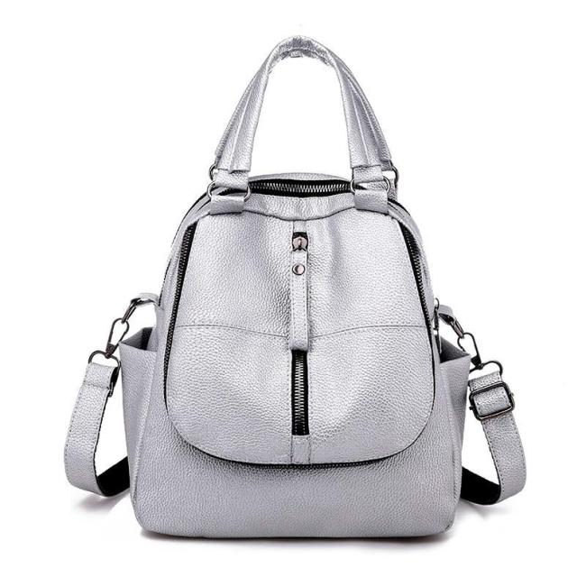 2020 Multifunction Backpacks For Girls Sac A Dos Female Leather Backpack High Quality Sliver Casual Daypack Travel School Bags