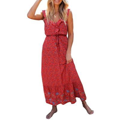 Spaghetti Strap Women Maxi Dress Beach Casual Round Neck Ladies Sundress Dresses Fashion Cami Dress Floral Printed Dress D30