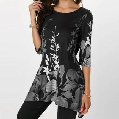 Women Blouses Floral Print Round Neck Tops Print Stretch Beach Shirt Tunic Loose Long Party Blouses Shirts Plus Size Tops 5XL