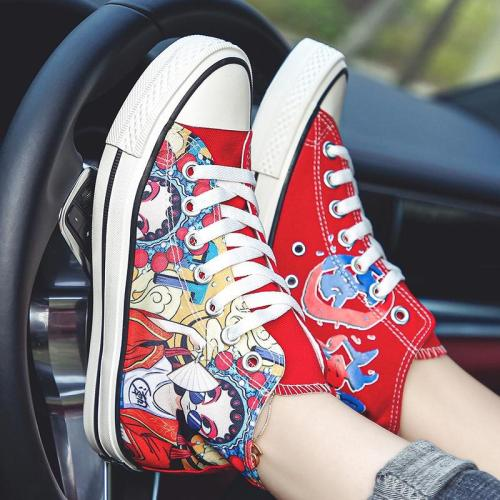 Natascha Spring/autumn New Chinese Style Peking Opera Sneakers Women Fashion Street Cool Shoes Flat with Round Toe Casual Canvas