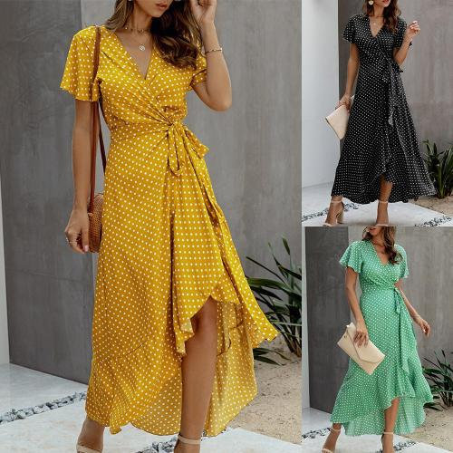 Polka Dot Summer Dress Short Sleeve Fashion Belt Asymmetrical Sundress Lady Maxi Dress V Neck Streetwear Office Female Dress D30