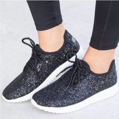 Bling Sneakers 2020 Fashion Casual shoes Women Sequined Cloth Vulcanized Shoes Chunky Sneaker Lace Up Footwear Big Size 8458G
