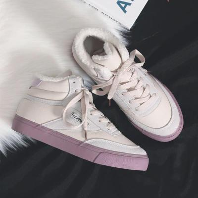 Thick Velvet Fur Warm Shoes Winter Women High Top Sneakers Platform 2020 Female Casaul White Shoes Warm Winter Sneakers