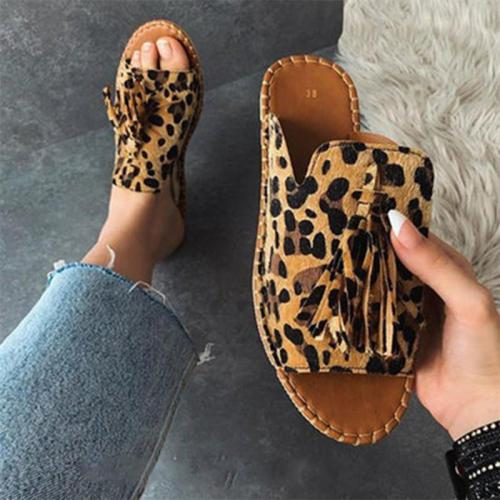 Sexy Leopard Women Slippers Woman Tassel Slides Women's Flats Ladies Sewing Non-slip Slides Female Open Toe Shoes Plus Size