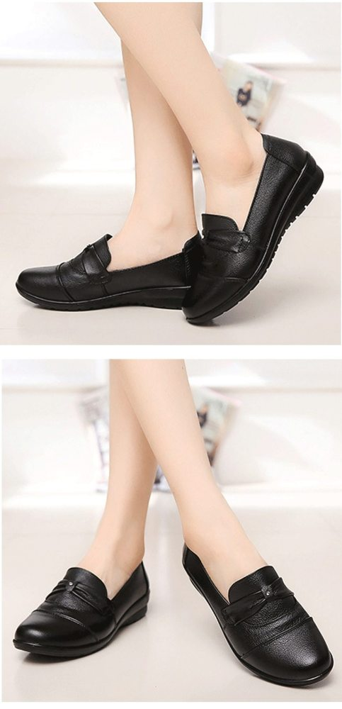 Genuine Leather Women Flats Black Shoes Size 35-41 Rhinestone Loafers 2019 Spring Fashion Round Toe Casual Shoes Woman