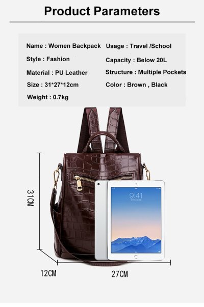 PU Leather Backpack Women Multifunction Travel Bags School Backpack For Teenage Girls Outdoor Ladies Women's Bagpack