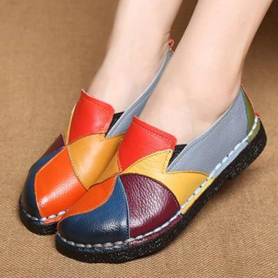 Flats women shoes folk-custom loaf shoes slip-on sewing mixed color round toe summer/autumn shoes zapatos mujer big size 35-42
