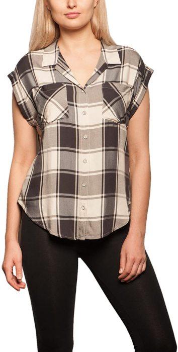 Jachs Women's Cap Sleeve Button Down Shirt - Short Sleeve Printed Blouse