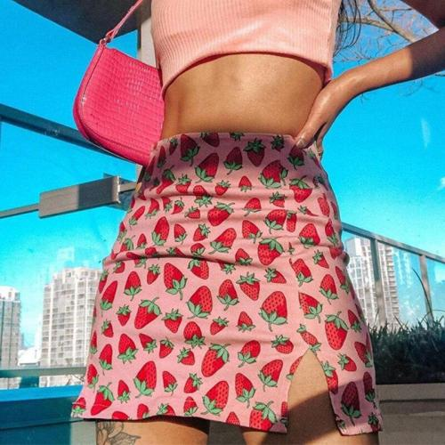 Strawberry fruit print mini skirt women casual short skirt high waist beach boho casual skirt elegant skirt female girl 2020
