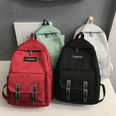 Fashion Buckle Nylon Backpack Cute Women Kawaii School Bags Student Girl Backpacks Harajuku Female Luxury Bag Laptop Book Ladies