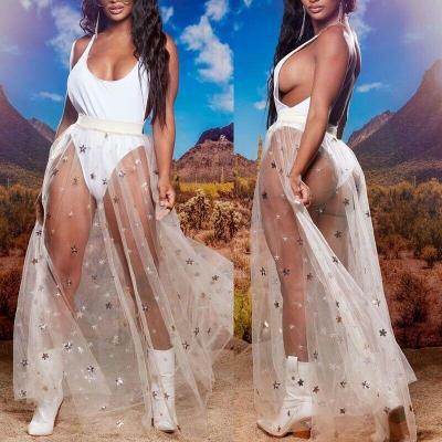 Women High Waist Elastic Waist Mesh Skirt Star See Through Sexy Fashion Embroidery Long Maxi Beach Dress