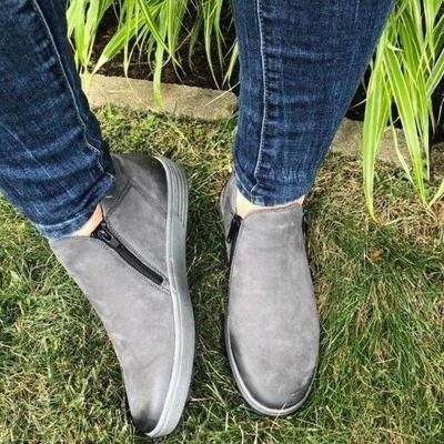 Female Platform Comfort Footwear Sneakers Women Zipper Suede Flat Shoe Ladies Fashion Sewing Woman Casual Vulcanized Shoes