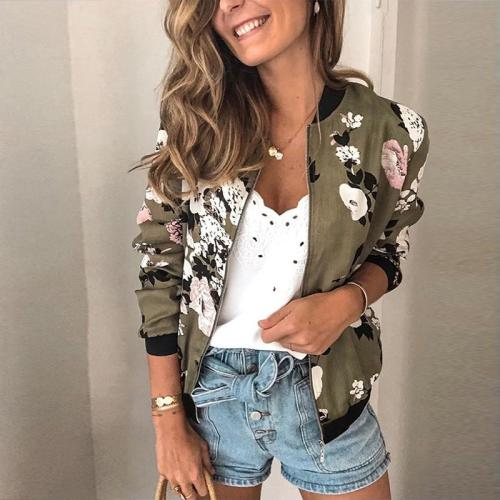 Duzeala Floral Printed Spring Women's Jackets Plus Size Short Female Coat Zipper Chaqueta Long Sleeve Summer Women Bomber Jacket