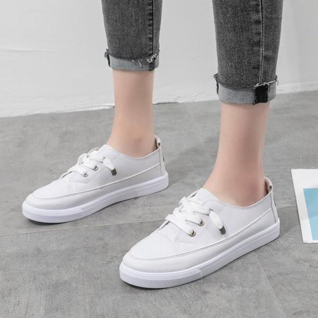 New Fashion Shoes Women's Vulcanize Mesh Shoes Autumn New Casual Classic Solid Color Pu Shoes Women White Shoes Sneakers