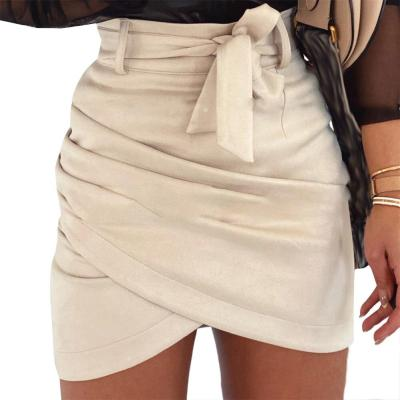 New Women Suede Bodycon Pencil Skirt Ladies Party High Waist Ruffles Lovely Fashion Sexy Evening Party Mini Skirt