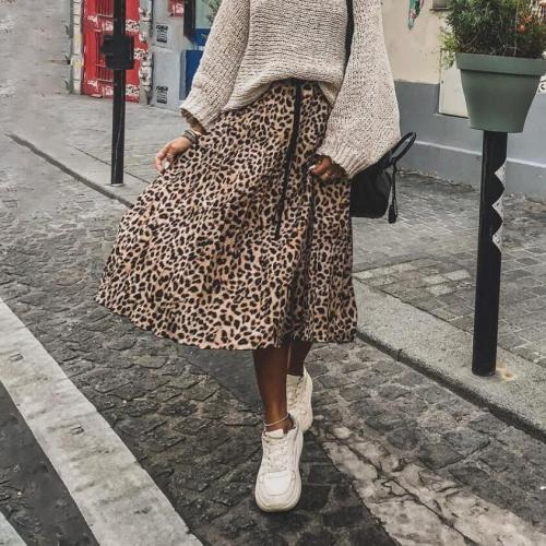Foridol high waist leopard print maxi long Women's skirt snake print pleated autumn winter skirt 2020 chic vintage skirt faldas