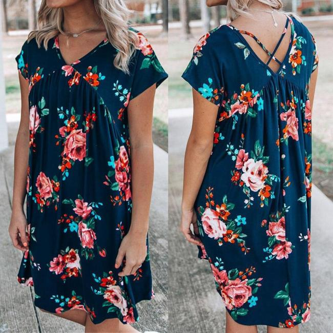 Women Summer Beach Dress Casual Short Sleeve Floral Printed Dress Bohohemian Mini Party Dress V Neck Sundress Vestidos femme D30