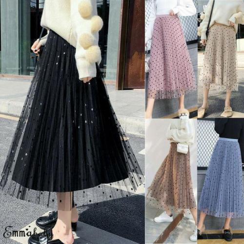 Women 2020 Summer Autumn Beach Polka Dot Mesh Patchwork Floral Skirts Ladies Holiday High Waist Ruffles Skirt