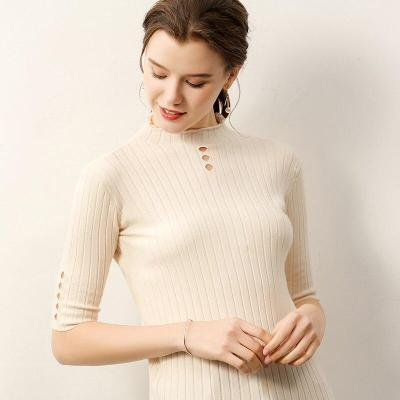 women knit sweater tops half sleeves hollow O-neck autumn female  pollover core yarn high quality ladies soft thin pullovers