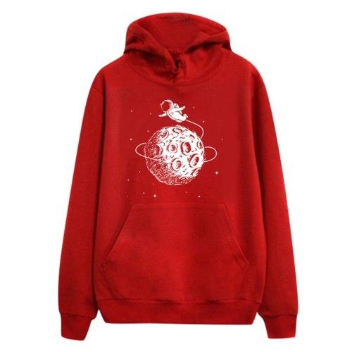Planet Cartoon Print Hoodies Sweatshirt Autumn Hooded Long Sleeve Pullover Cute Kawaii Tops With Pockets Sudaderas Mujer#Y3