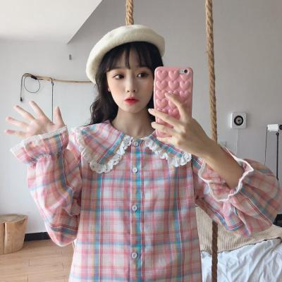 Spring Autumn New Sweet Peter Pan Collar Lace Long Sleeve Pink Plaid Shirts Blouses Students Tops Women Fashion Streetwear 2020