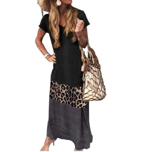 2020 Vintage Leopard Long Dress Plus Size Loose Beach Summer Dresses Fashion Casual Women Dress Long Sleeve & Short For Choice