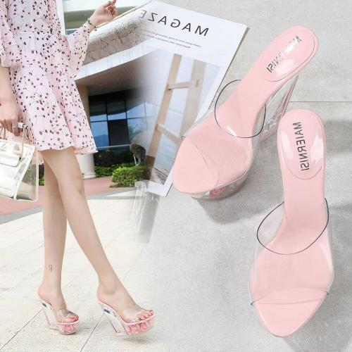 14CM Super High Heel Summer Ladies Sandals PVC Transparent Platform Wedge Flower Pumps Simple Temperament Women High Heel Shoes