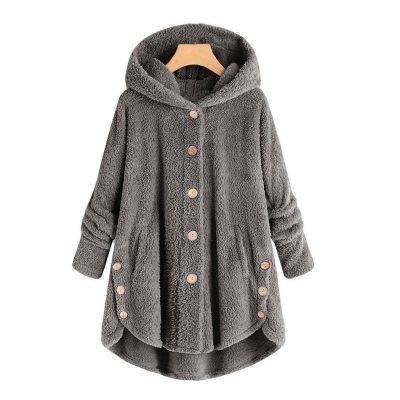 Fluffy Tail Solid Hooded Long Sweatshirt Plus Size Loose Women Button Zip Up Winter Warm Oversized Long Sleeve Tops 5XL#Y3
