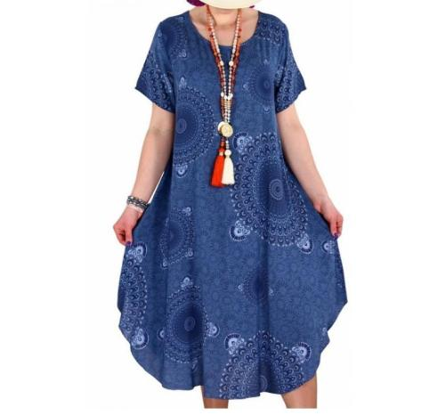 Women Summer Dress 2020 Printing Dot Dress Midi Plus Size Casual Loose Short Sleeve Irregular Long Knee-Length Dress