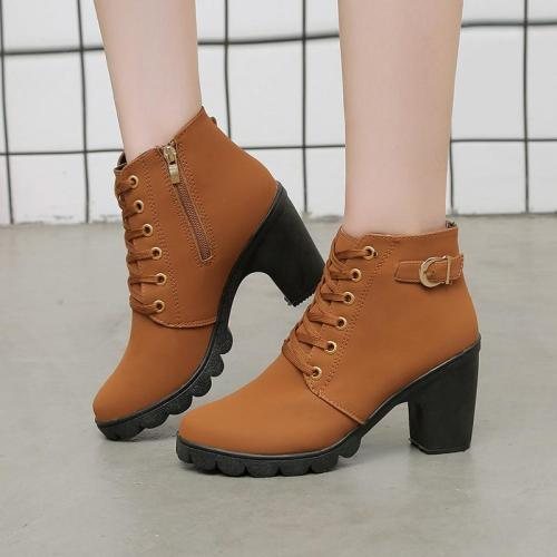 Plus Size 2020 Winter Lace Up Ankle Boots Chunky Heels Buckle High Heels Boots Casual Shoes Women botas mujer bottes femme 7751