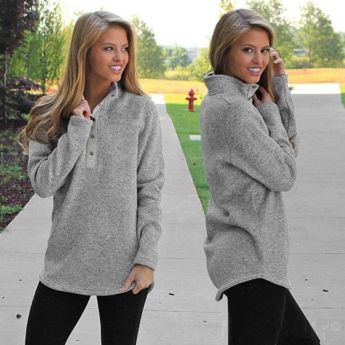 Winter Jacket Women Warm Grey Turtleneck Plush Autumn Long Sleeve Solid Coat Fashion Button Tops Casual Lazy Sudaderas Mujer#F5