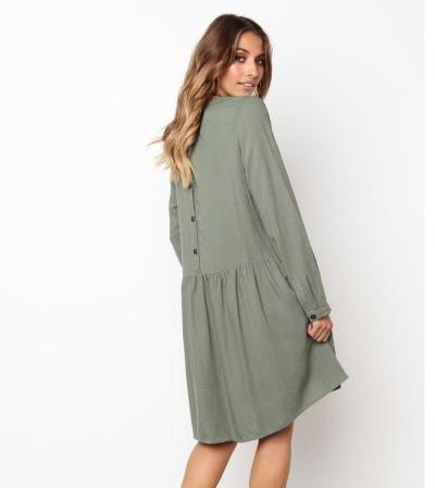 Summer Dress Women 2020 Solid O-Neck Long Sleeve Cotton Linen Pleated Dress Female Elegant Beach Party Dresses Vestidos