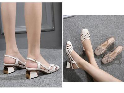 2020 Large size sandals women new spring and summer new wild with a word buckle with thick and small fresh high heels