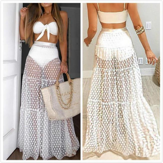 Women Lady A-line Long Maxi Skirts Vintage Sexy Polka Dot Rockabilly Tutu  2020 Tulle Long Skirts One Size