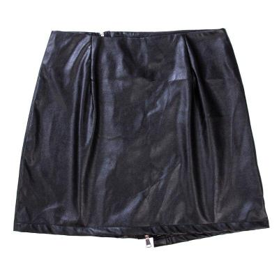 Women Front Zip PU Leather High Waist Fashion Sexy Slim Bodycon Bust Mini Skirt Evening Party Clubwear Skirts