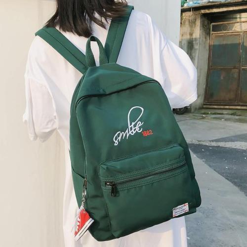 school bag girl Letter embroidery Nylon Pendant women backpack cute teenage waterproof Student backpack Applique female book bag