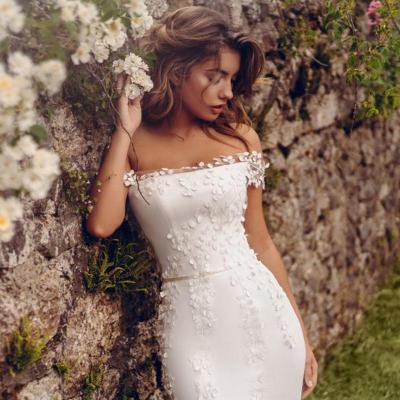 Eightree 3D Flowers Mermaid Wedding Dress Boat Neck Beautiful robe de soiree Trumpet Wedding Gown Vestidos 2020 Bride Dress