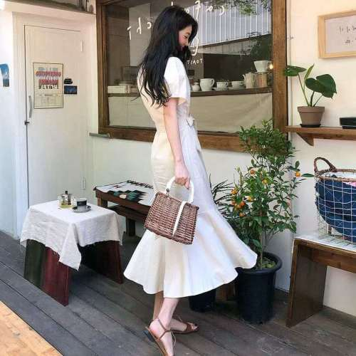 Elegant Dress Long Woman Dress Cute Short Sleeve Korean Japan Dresses for women Style Clothes Date Wear Button Lady Dress