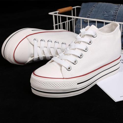 2020 New Arrival Women Hidden Heel Platform Wedge Canvas Shoes Outdoor White Black Fashion Girls  Wedge Sneakers