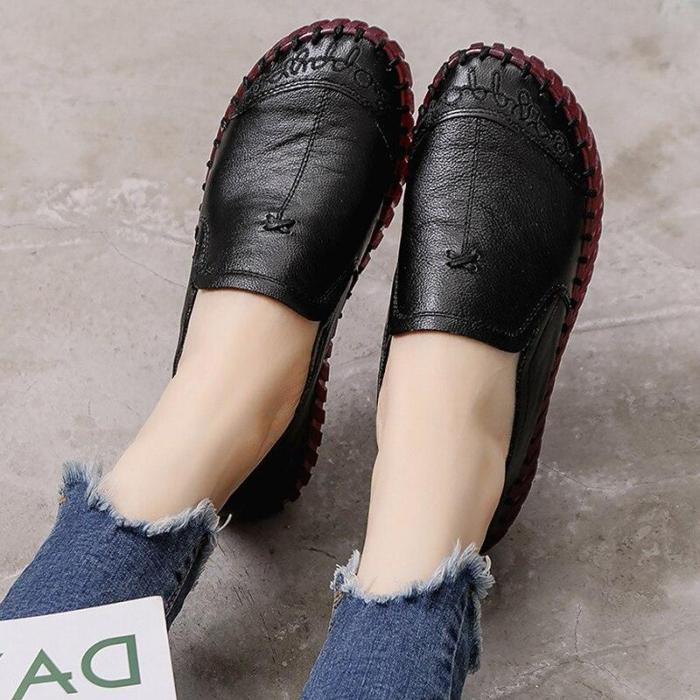 2020 New Women Flat Shoes Genuine Leather Slip On Women Casual Shoes Loafers Soft Footwear Mocassin Female Flat shoes woman